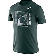 Nike Men's Michigan State Spartans Green Team Issue Logo Football T-Shirt