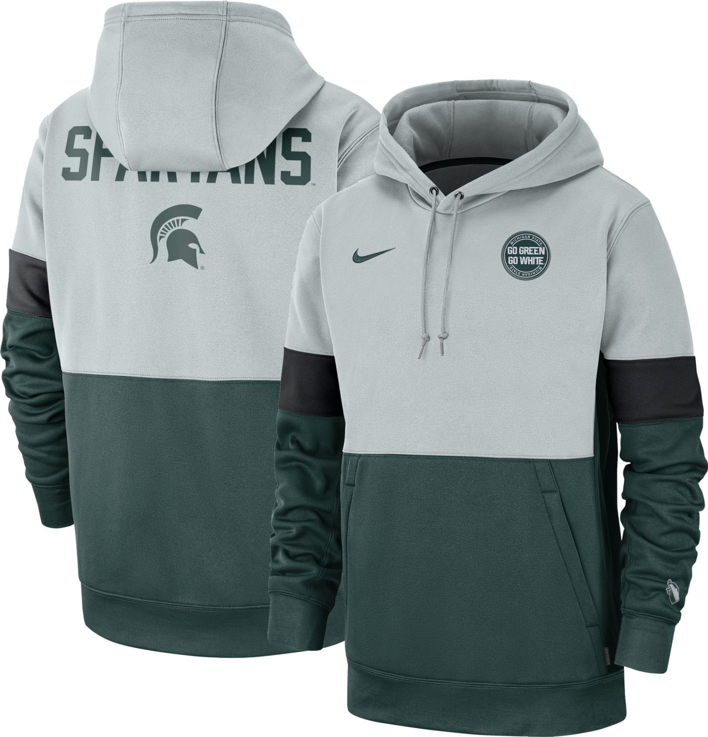 Nike Men's Michigan State Spartans Grey/Green Rivalry Therma Football Sideline Pullover Hoodie
