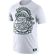Nike Men's Michigan State Spartans Dry Crest Basketball White T-Shirt