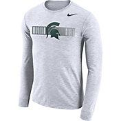 Nike Men's Michigan State Spartans Dri-FIT Cotton Slub Logo Long Sleeve White T-Shirt