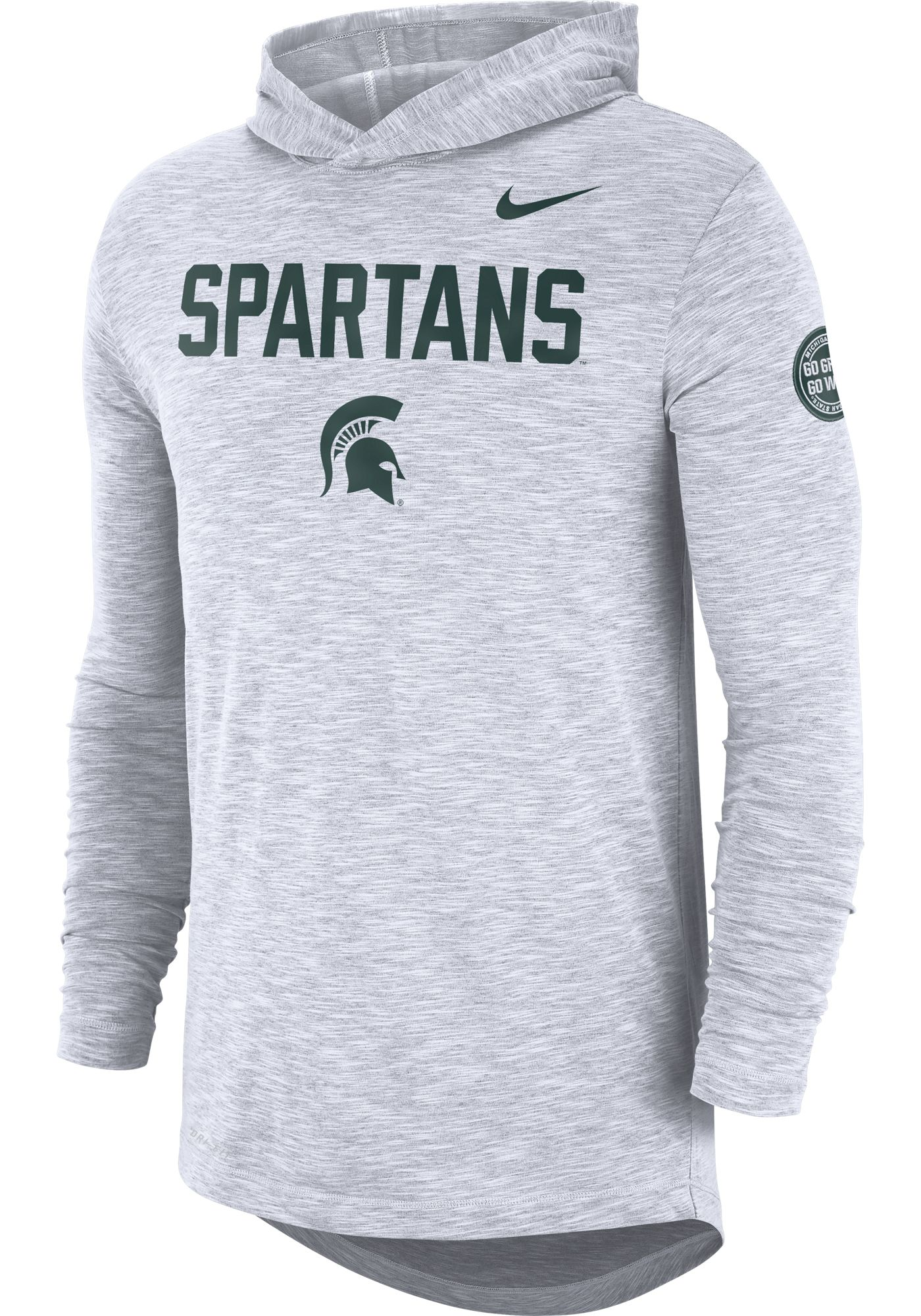 Nike Men's Michigan State Spartans Dri-FIT Rivalry Football Sideline Hooded White T-Shirt
