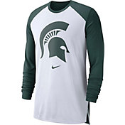 Nike Men's Michigan State Spartans White/Green Long Sleeve Shooting Shirt