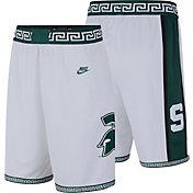 Nike Men's Michigan State Spartans Throwback Basketball White Shorts
