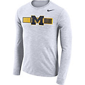 Nike Men's Michigan Wolverines Dri-FIT Cotton Slub Logo Long Sleeve White T-Shirt