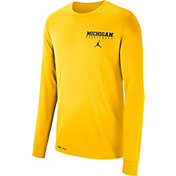Jordan Men's Michigan Wolverines Maize Dri-FIT Cotton Basketball Long Sleeve T- Shirt