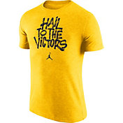 Jordan Men's Michigan Wolverines Maize 'Hail to the Victors' Tri-Blend Verbiage T-Shirt