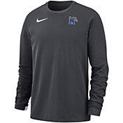 Nike Men's Memphis Tigers Grey Dri-FIT Modern Long Sleeve Crew Neck T-Shirt
