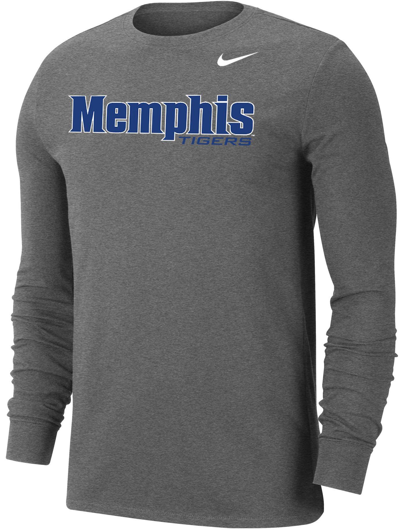 Nike Men's Memphis Tigers Grey Wordmark Long Sleeve T-Shirt