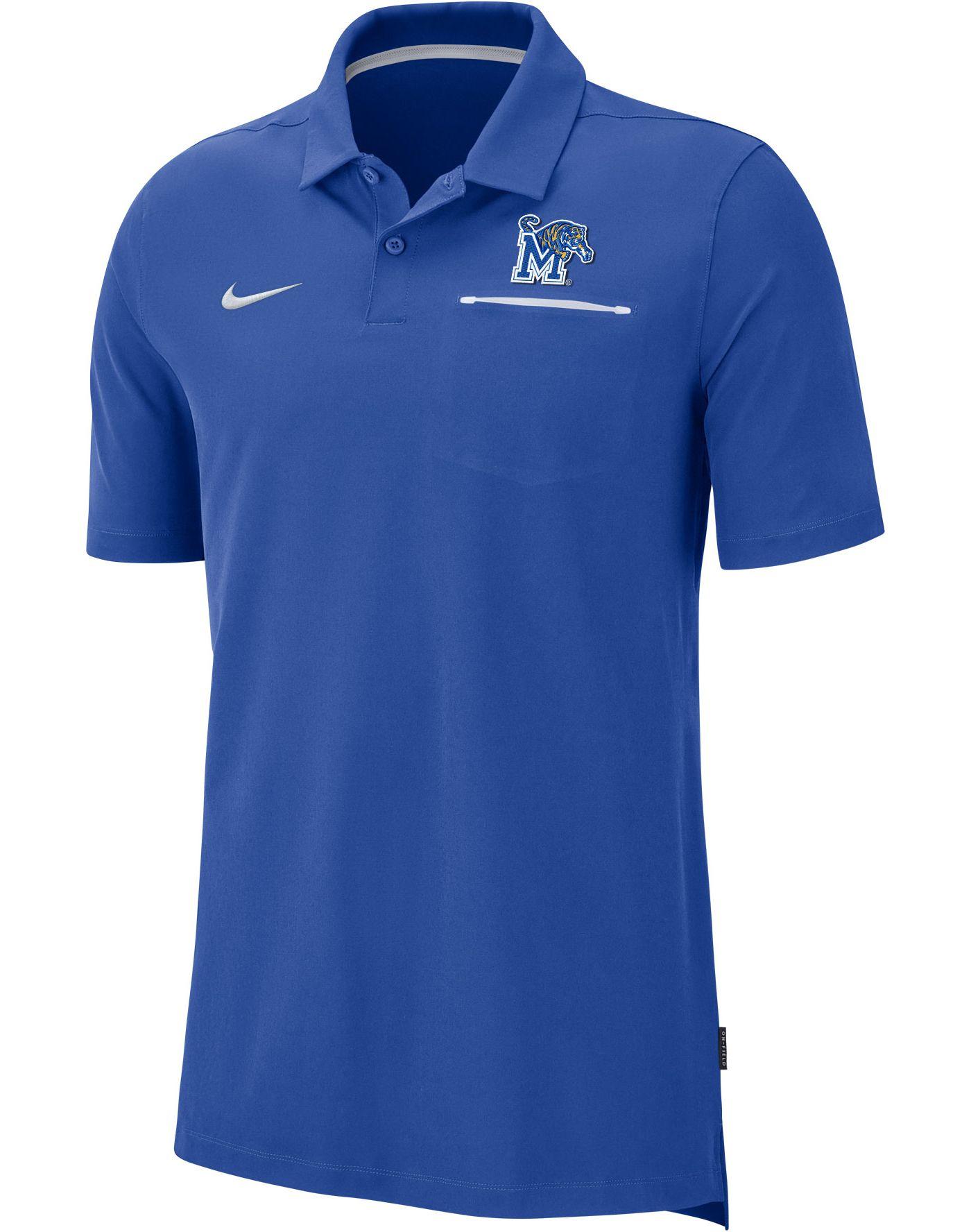 Nike Men's Memphis Tigers Blue Dri-FIT Elite Football Sideline Polo