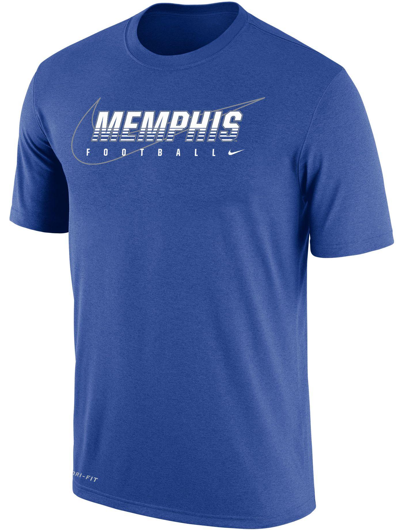 Nike Men's Memphis Tigers Blue Football Dri-FIT Cotton Facility T-Shirt