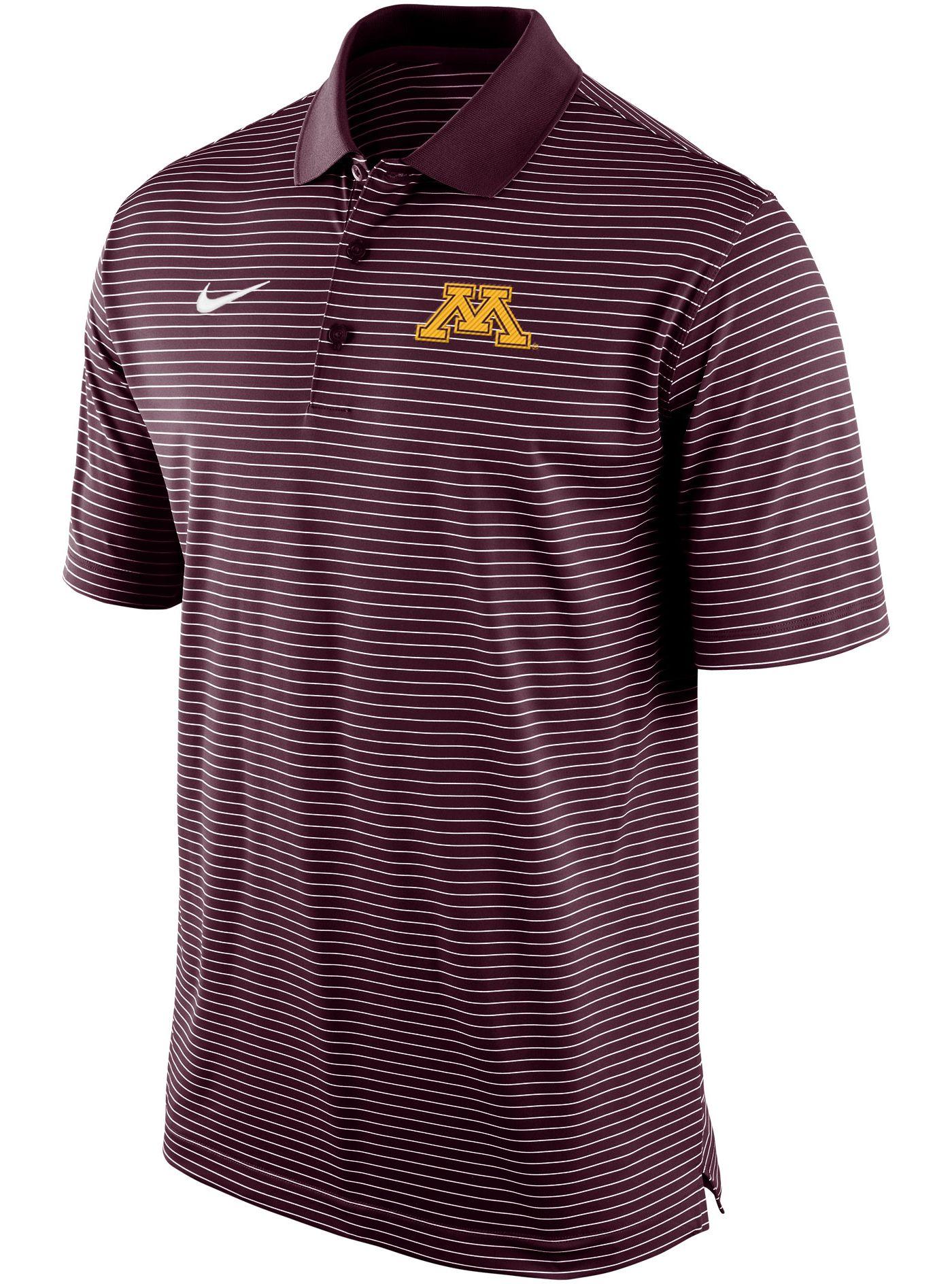 Nike Men's Minnesota Golden Gophers Maroon Stadium Striped Polo