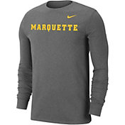 Nike Men's Marquette Golden Eagles Grey Wordmark Long Sleeve T-Shirt