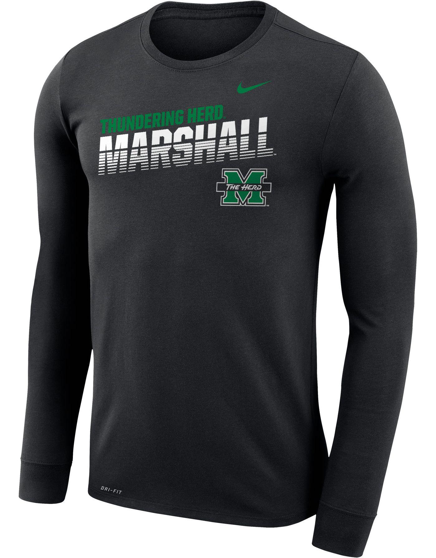 Nike Men's Marshall Thundering Herd Legend Football Sideline Long Sleeve Black T-Shirt