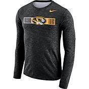 Nike Men's Missouri Tigers Dri-FIT Cotton Slub Logo Long Sleeve Black T-Shirt