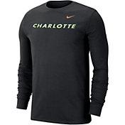 Nike Men's Charlotte 49ers Wordmark Long Sleeve Black T-Shirt
