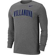Nike Men's Villanova Wildcats Grey Wordmark Long Sleeve T-Shirt