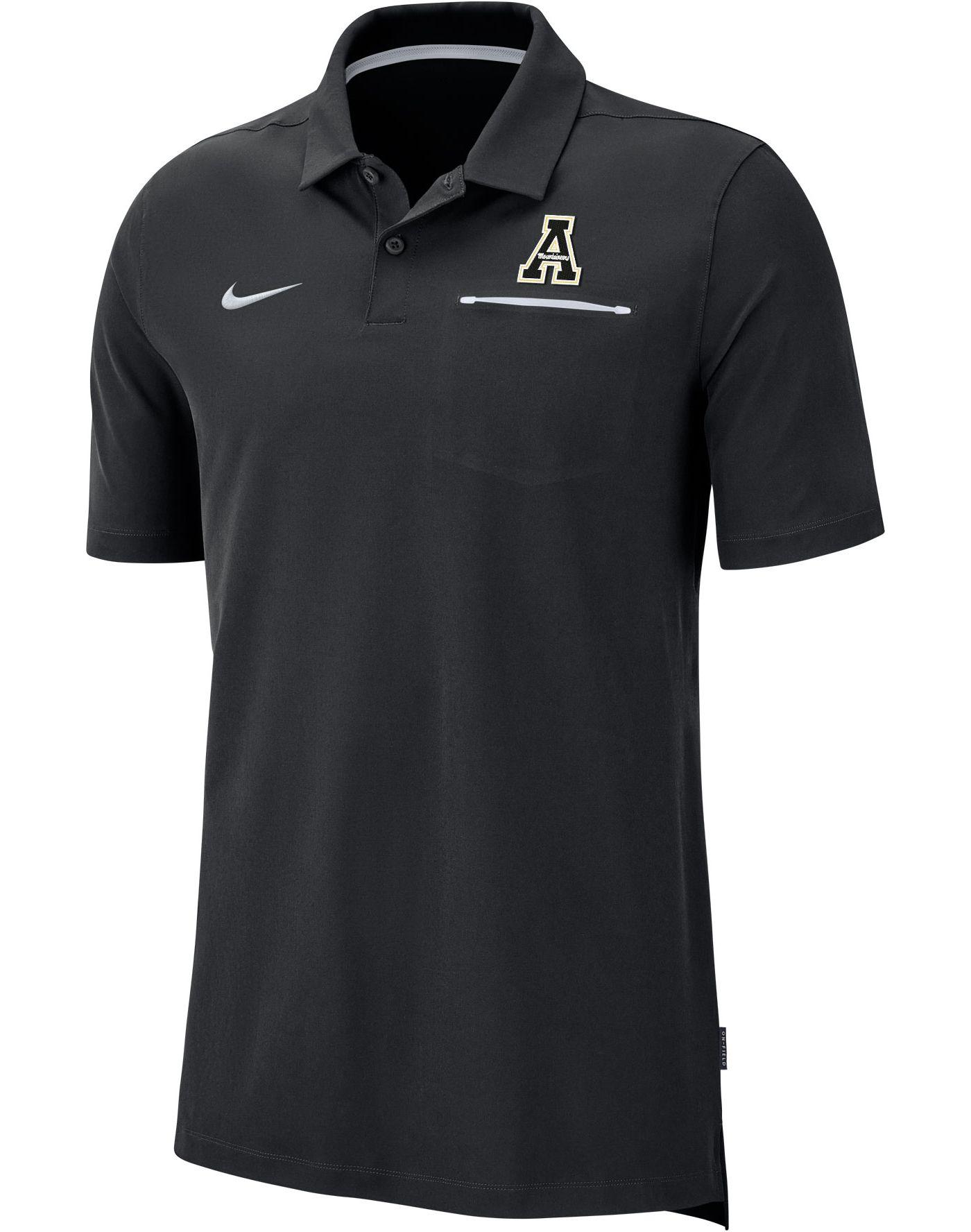 Nike Men's Appalachian State Mountaineers Dri-FIT Elite Football Sideline Black Polo