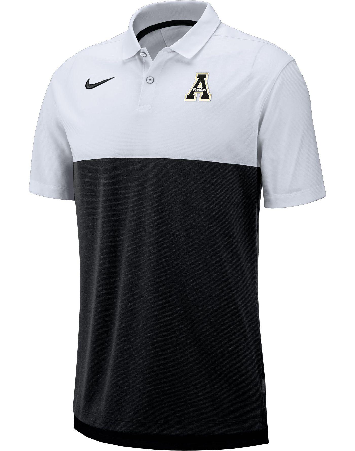 Nike Men's Appalachian State Mountaineers White/Black Dri-FIT Breathe Football Sideline Polo