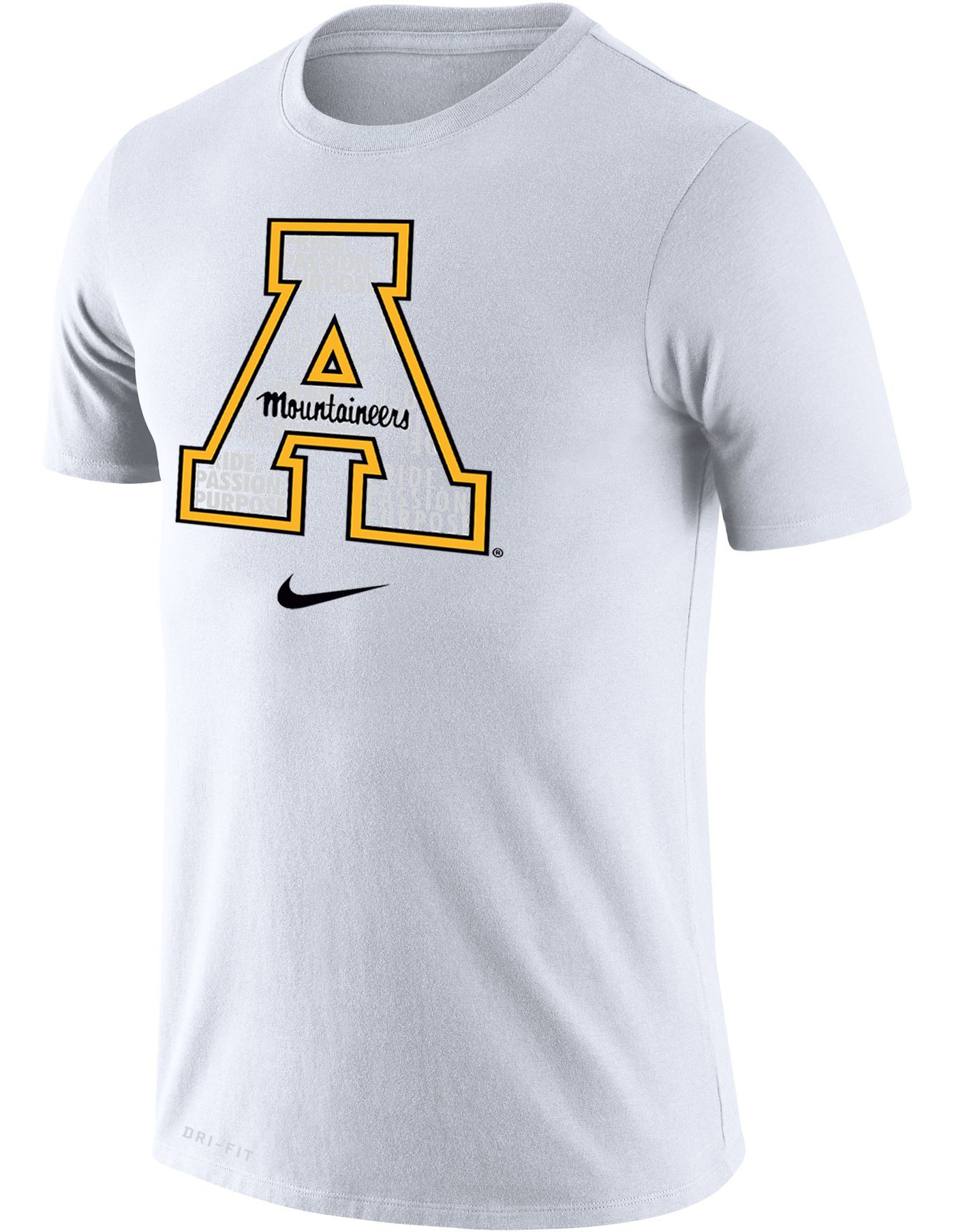 Nike Men's Appalachian State Mountaineers Logo Dry Legend White-Out T-Shirt