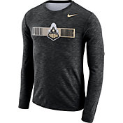 Nike Men's Purdue Boilermakers Dri-FIT Cotton Slub Logo Long Sleeve Black T-Shirt