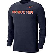 Nike Men's Princeton  Tigers Navy Wordmark Long Sleeve T-Shirt