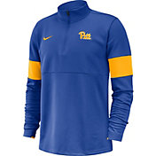 Nike Men's Pitt Panthers Blue Coaches Half-Zip Shirt