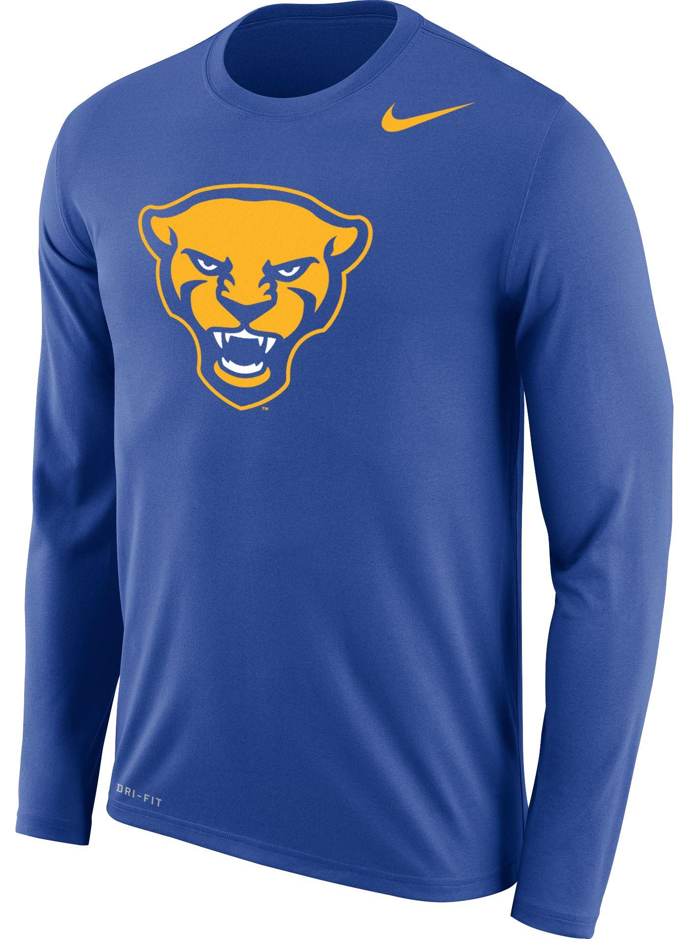 Nike Men's Pitt Panthers Blue Panther Head Logo Dri-FIT Cotton Long Sleeve T-Shirt