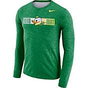Nike Men's Oregon Ducks Green Dri-FIT Cotton Slub Logo Long Sleeve T-Shirt