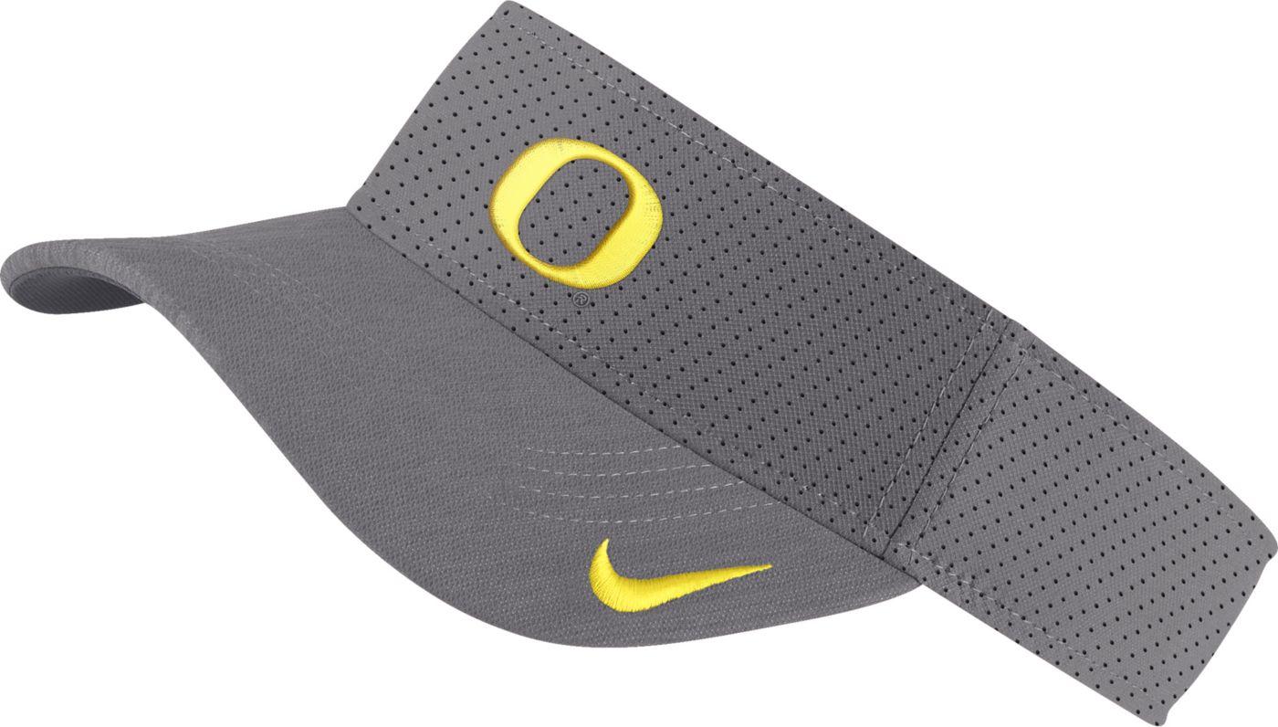Nike Men's Oregon Ducks Grey AeroBill Football Sideline Visor