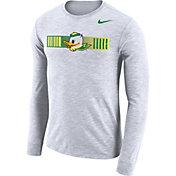 Nike Men's Oregon Ducks Dri-FIT Cotton Slub Logo Long Sleeve White T-Shirt