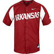 Nike Men's Arkansas Razorbacks Cardinal Full Button Replica Baseball Jersey
