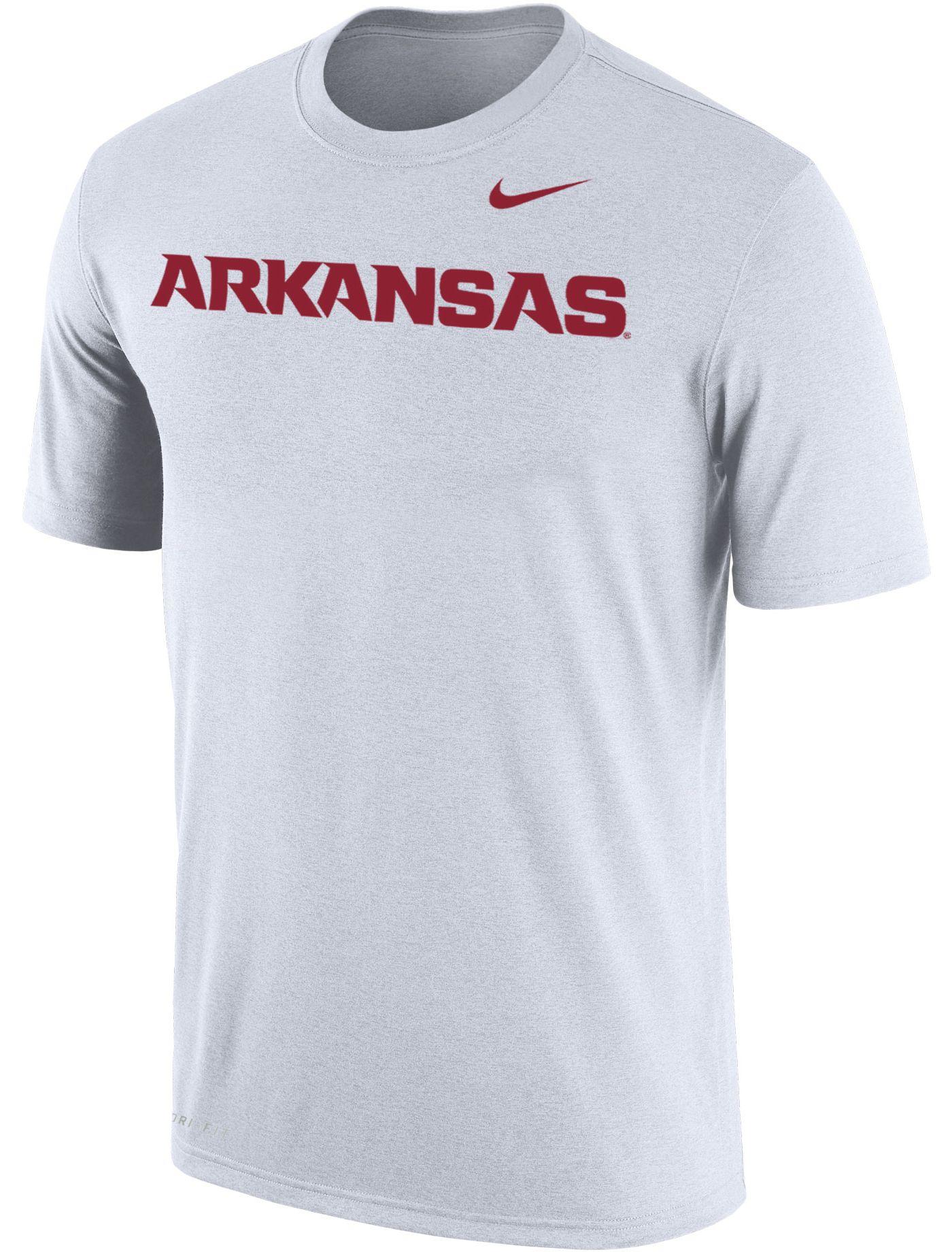 Nike Men's Arkansas Razorbacks Dri-FIT Cotton Word White T-Shirt