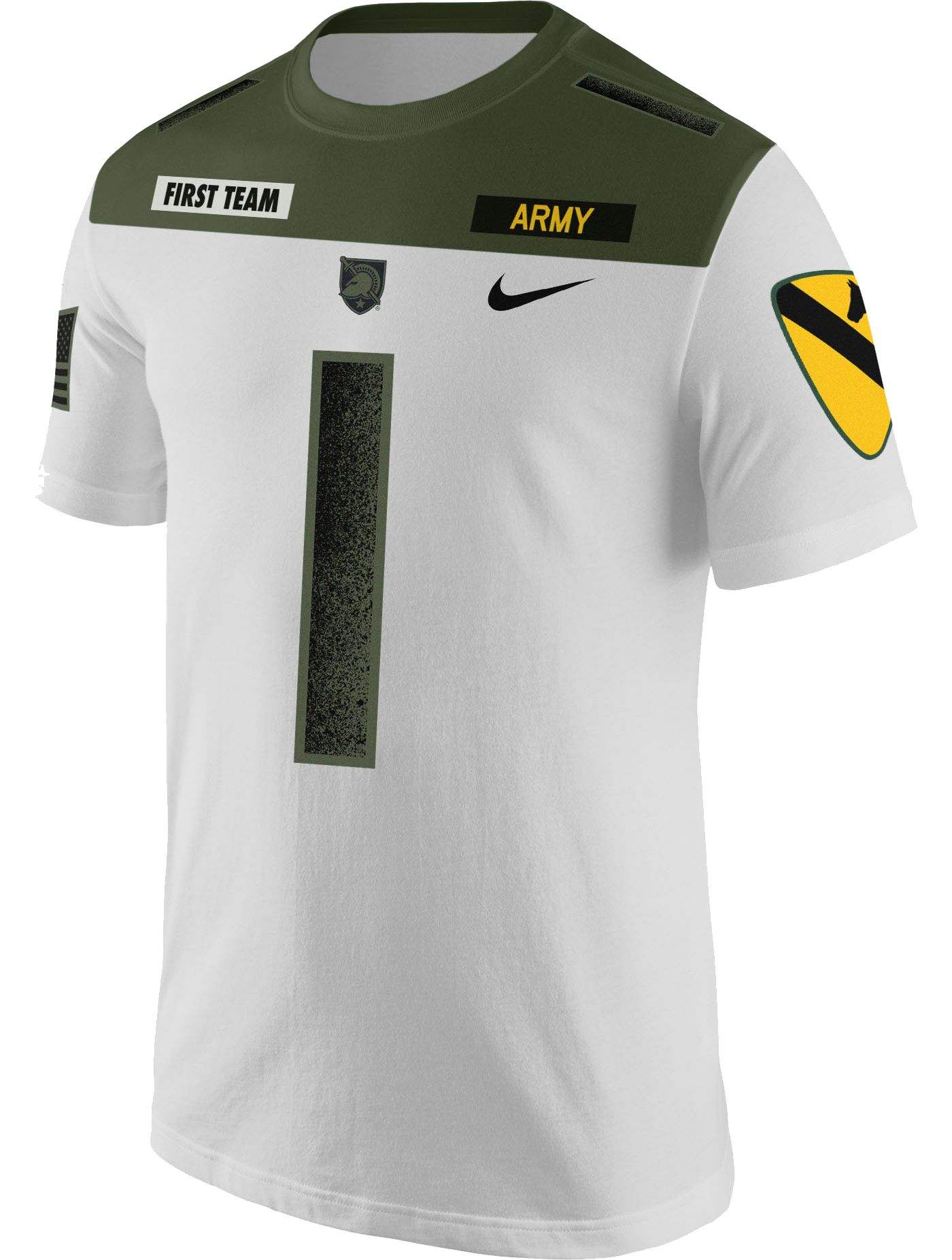 Nike Men's Army West Point Black Knights #1 Rivalry Jersey Football White T-Shirt