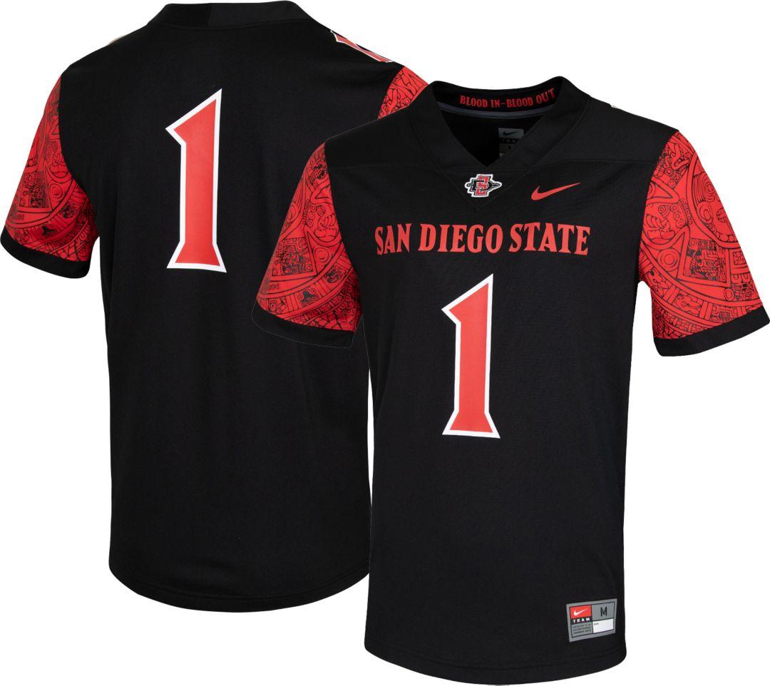 cheaper d0bd8 74b12 Nike Men's San Diego State Aztecs #1 Dri-FIT Game Football Black Jersey