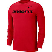 Nike Men's San Diego State Aztecs Scarlet Wordmark Long Sleeve T-Shirt