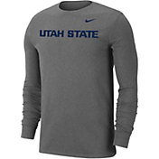 Nike Men's Utah State Aggies Grey Wordmark Long Sleeve T-Shirt