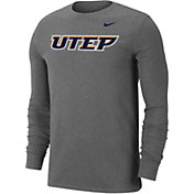 Nike Men's UTEP Miners Grey Wordmark Long Sleeve T-Shirt