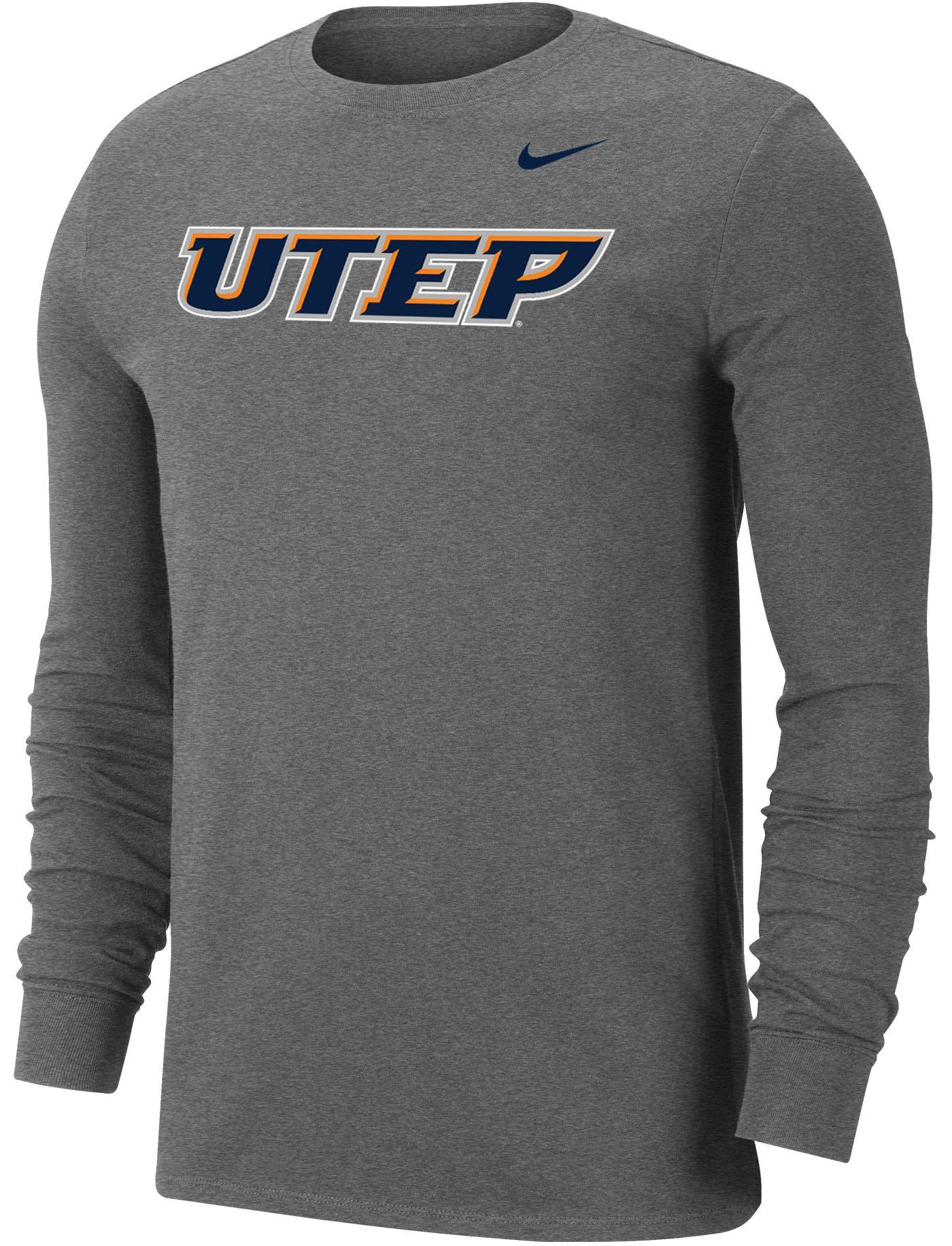 Nike Men's UTEP Miners Grey Wordmark Long Sleeve T-Shirt