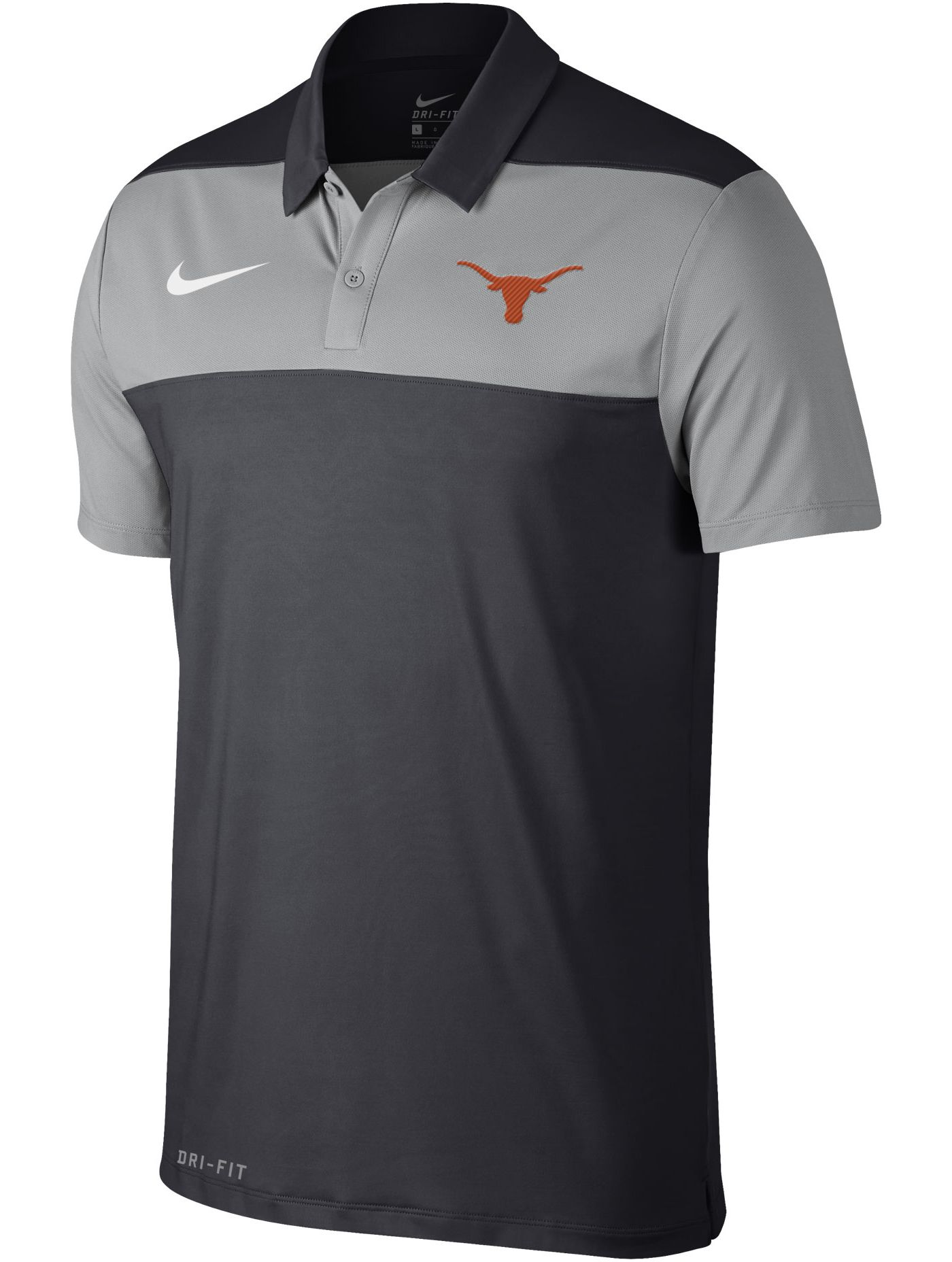 Nike Men's Texas Longhorns Grey Color Block Polo