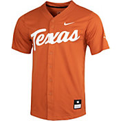 Nike Men's Texas Longhorns Burnt Orange Full Button Replica Baseball Jersey