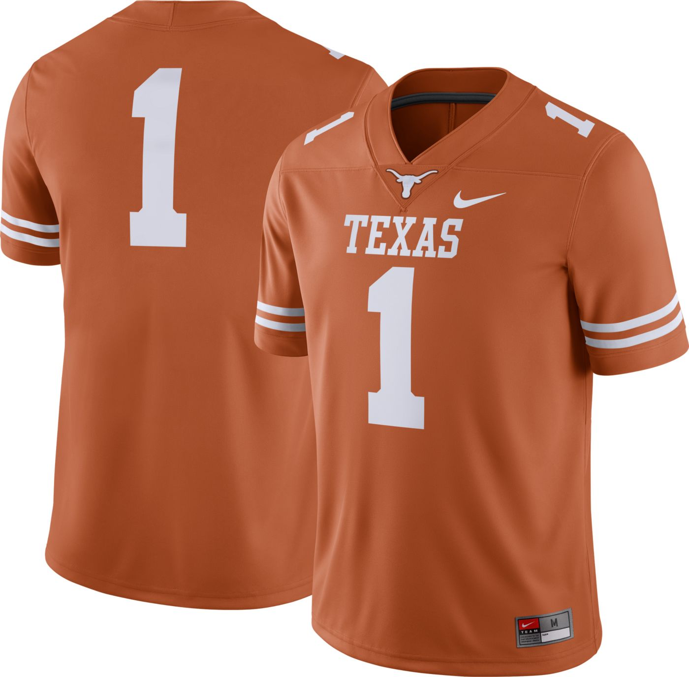 Nike Men's Texas Longhorns #1 Burnt Orange Dri-FIT Game Football Jersey