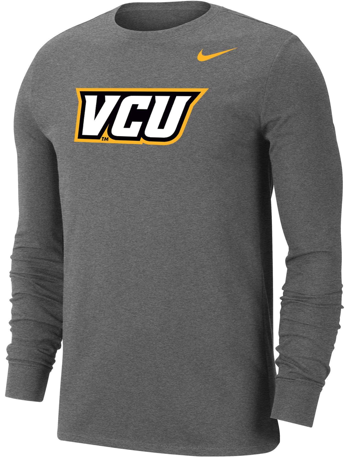 Nike Men's VCU Rams Grey Wordmark Long Sleeve T-Shirt
