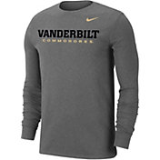 Nike Men's Vanderbilt Commodores Grey Wordmark Long Sleeve T-Shirt