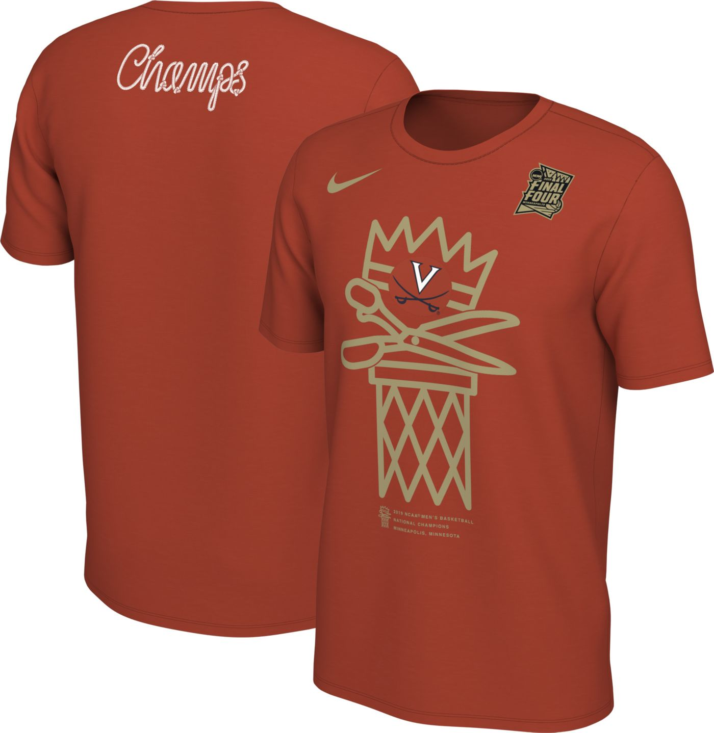 Nike Men's Virginia Cavaliers 2019 Men's Basketball National Champions Scissors T-Shirt