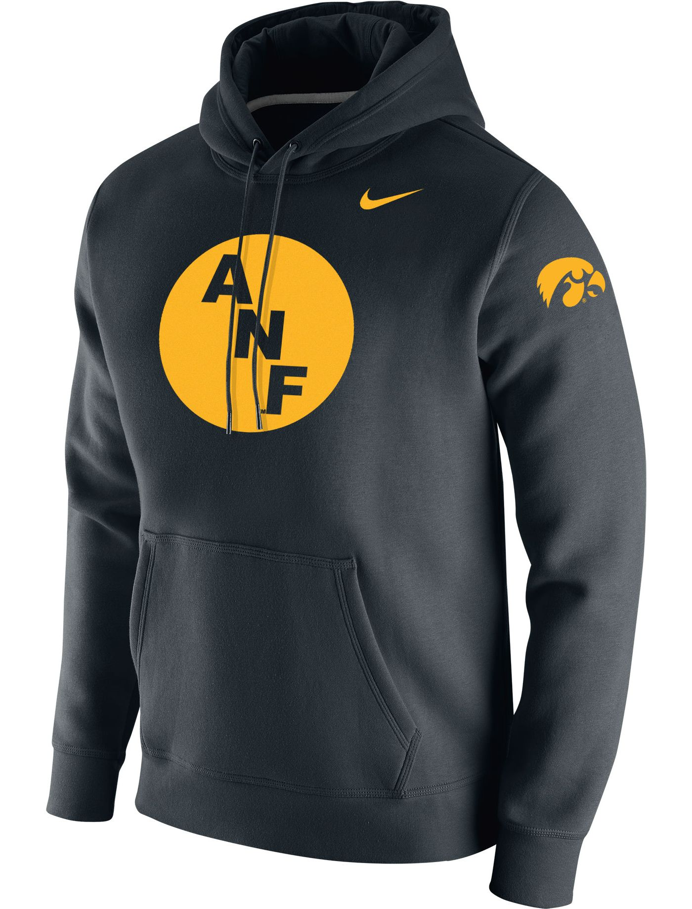 Nike Men's Iowa Hawkeyes ANF Fleece Pullover Black Hoodie