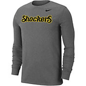Nike Men's Wichita State Shockers Grey Wordmark Long Sleeve T-Shirt