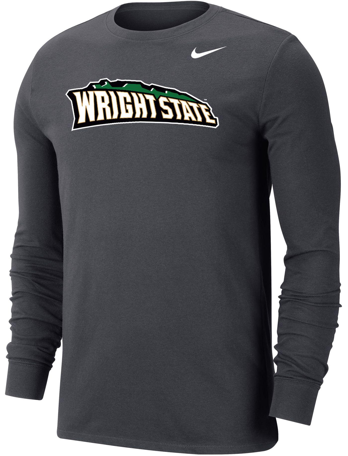 Nike Men's Wright State Raiders Grey Wordmark Long Sleeve T-Shirt