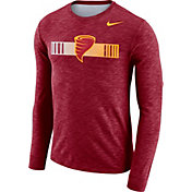 Nike Men's Iowa State Cyclones Cardinal Dri-FIT Cotton Slub Logo Long Sleeve T-Shirt