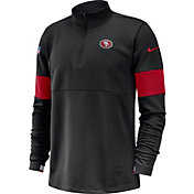 Nike Men's San Francisco 49ers Sideline Coach Performance Black Half-Zip Pullover