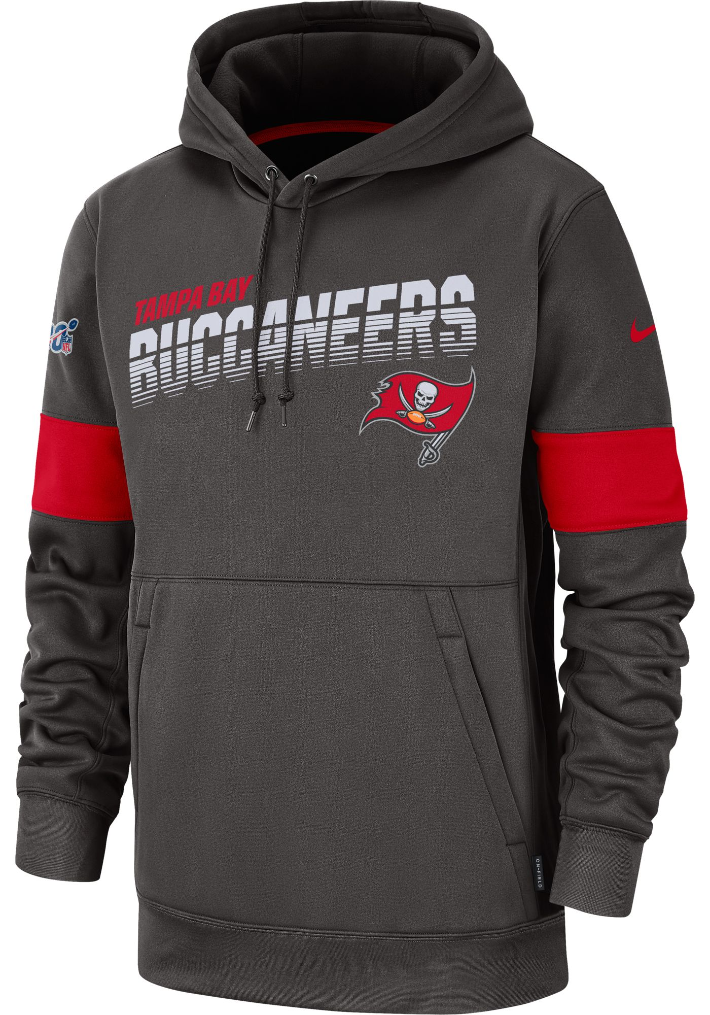 Nike Men's Tampa Bay Buccaneers 100th Sideline Therma-FIT Pewter Pullover Hoodie